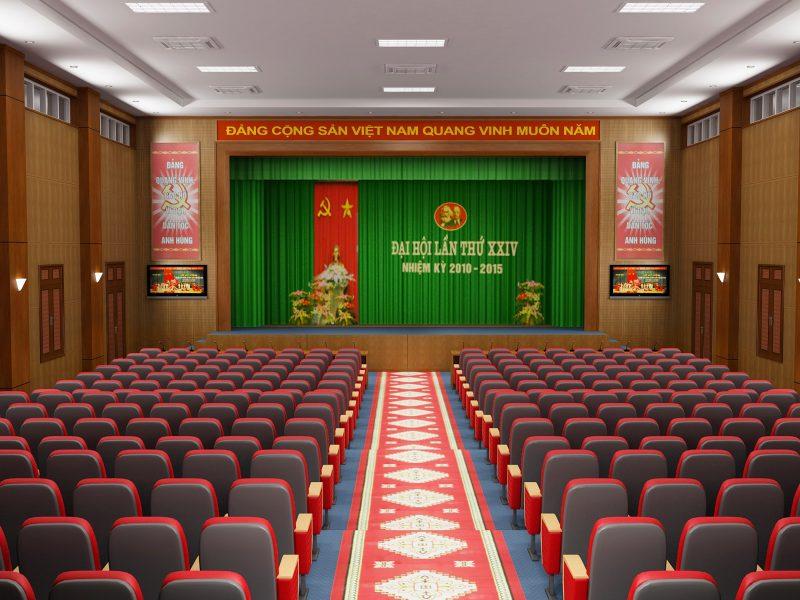 Không gian sang trọng,lịch sự của hội trường Công an tỉnh Điện Biên