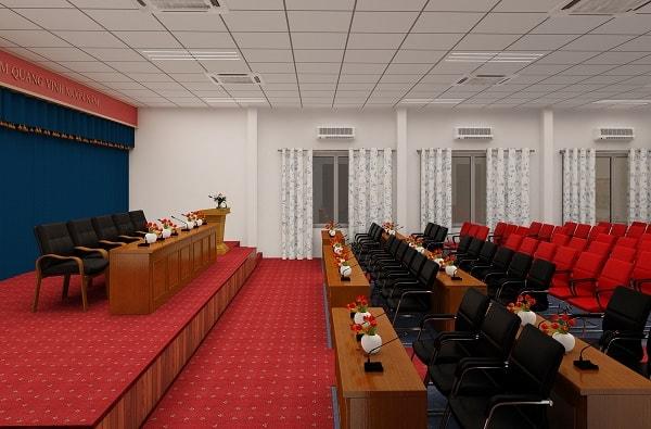 Bàn được sử dụng tại phòng họp và hội trường là loại bàn được làm từ gỗ công nghiệp Veneer