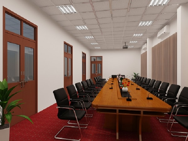 Phòng họp được thiết kế đơn giản nhưng vẫn sang trọng, lịch sự
