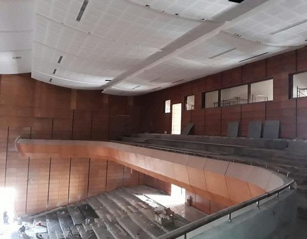 Công trình thi công Hội trường Trung tâm văn hóa huyện Quảng Bình nhìn từ trên xuống
