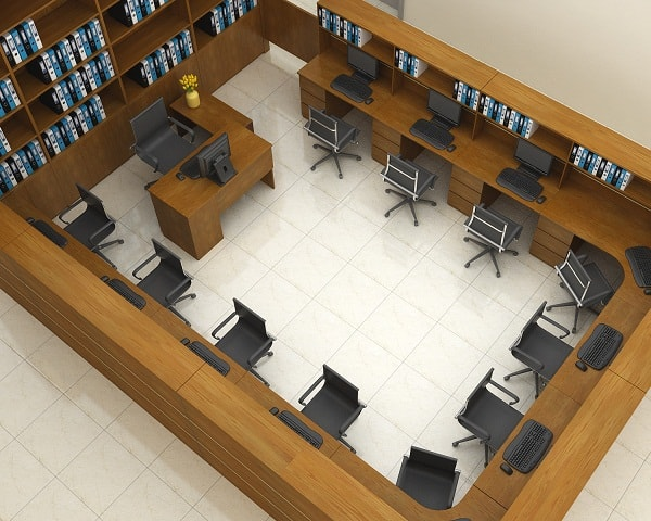 Không gian phòng kế toán nhìn từ trên xuống