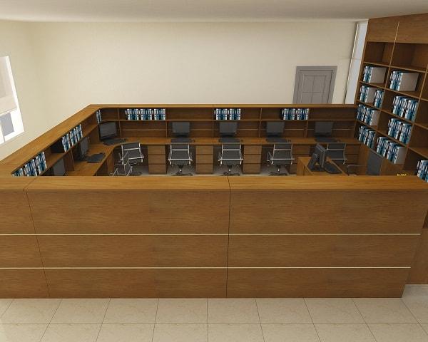 Sự kết hợp giữa màu sắc và chất lượng của bàn, ghế, tủ đồ giúp không gian phòng kế toán thêm sang trọng