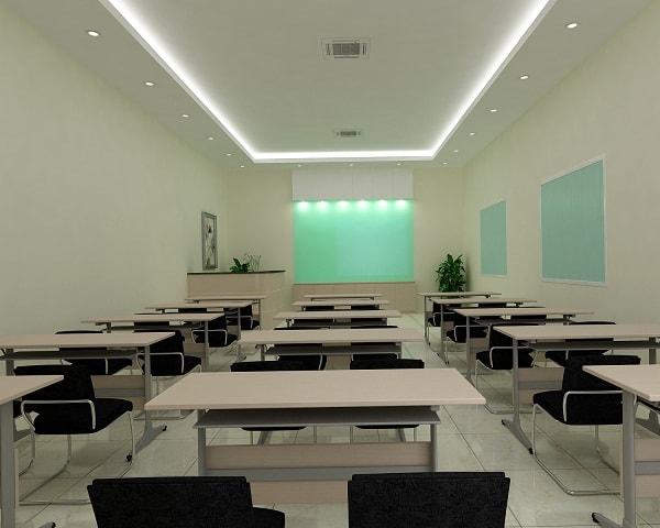 Phòng đào tạo được sắp xếp bàn theo dãy