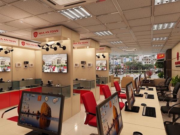 Không gian bàn tiếp khách và kệ trưng bày sản phẩm