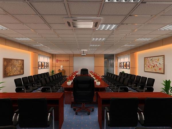 Phòng họp là sự kết hợp hài hòa giữa yếu tố thẩm mỹ và chất lượng
