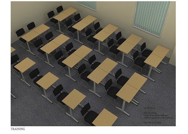 Màu đen của ghế và màu vàng của bàn là sự kết hợp hoàn hảo dành cho phòng đào tạo