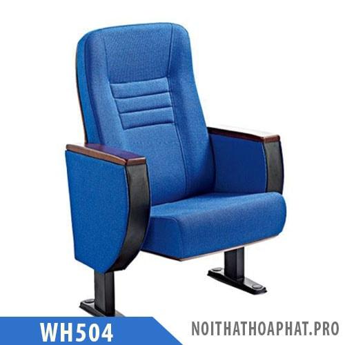 WH504 - Ghế hội trường chân thép, vách nỉ, tay gỗ tự nhiên
