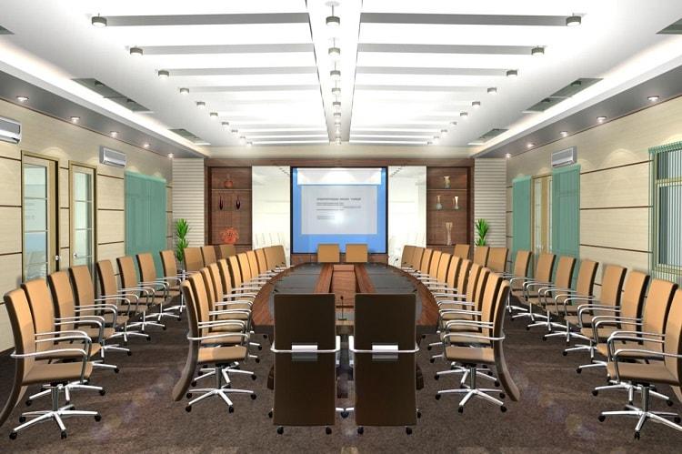 Bàn họp cần lựa chọn thiết kế tương xứng với không gian phòng họp
