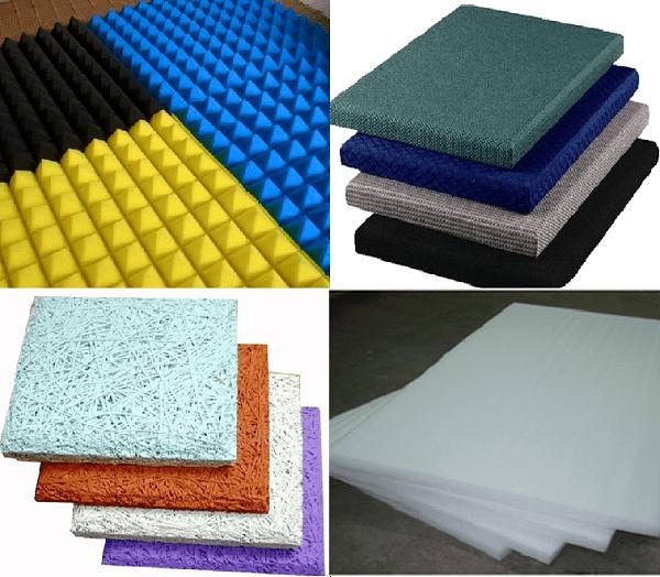 Các vật liệu thường được dùng để tiêu âm là mút xốp