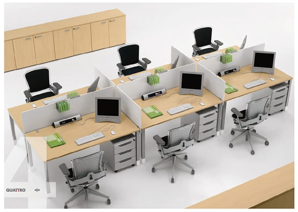 Cách bố trí bàn làm việc văn phòng theo nhóm 2-4 người