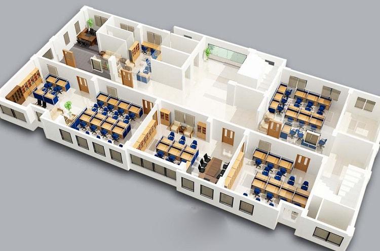 Phân chia không gian văn phòng nhà ống hợp lý
