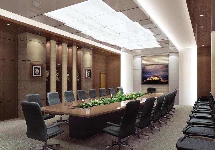 Phòng họp truyền thống thường theo một xu hướng chung có hình chữ nhật