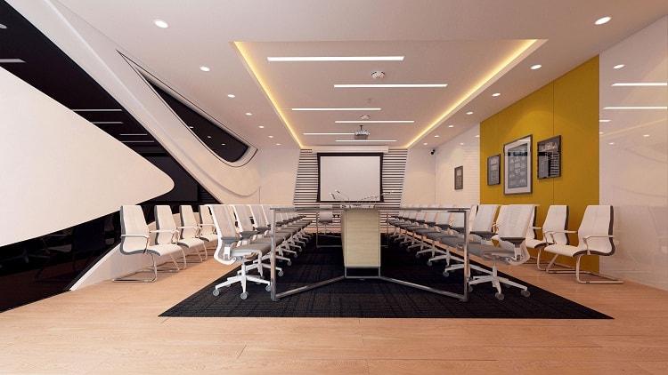 Thiết kế phòng họp hiện đại nhấn nhá nhiều chi tiết mang tính hiện đại, tiện ích và sáng tạo