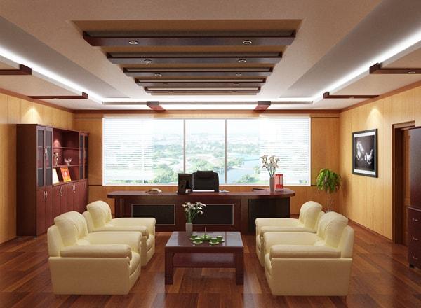 Phòng giám đốc tuổi Đinh Dậu nên chọn nội thất bằng chất liệu gỗ làm chủ đạo