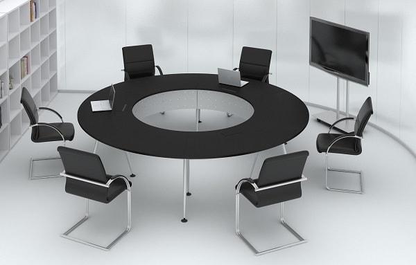 Bàn tròn sử dụng trong các cuộc họp nhỏ có tính chất cộng tác vì mục tiêu chung