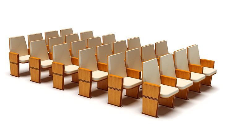 Dòng ghế hội trường cho hội nghị khá đa dạng về mẫu mã, màu sắc