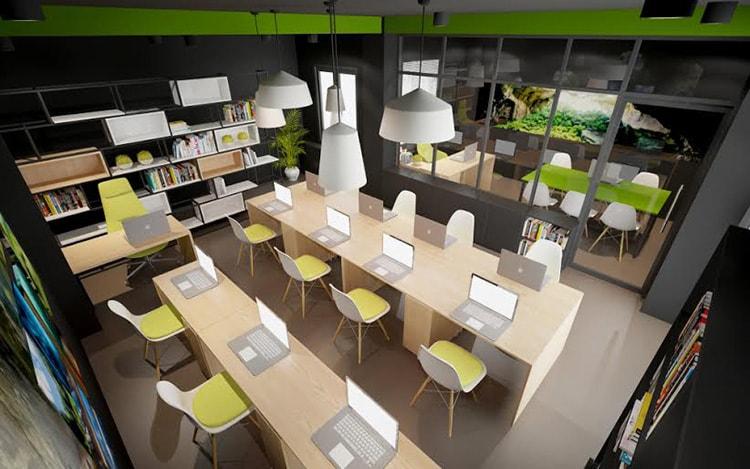 Không gian nội thất của phòng làm việc dành cho nhân viên