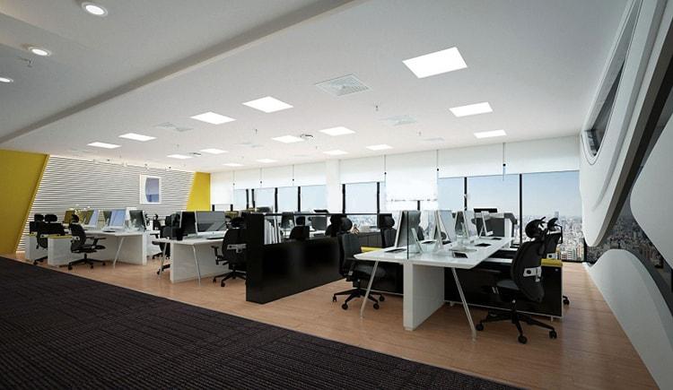 Văn phòng phối hợp gam màu đen trắng