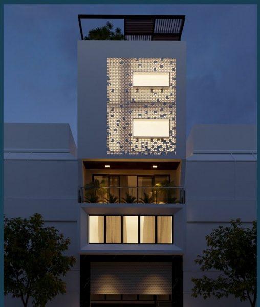 Phối cảnh mẫu nhà 6 tầng để ở kết hợp văn phòng cho thuê