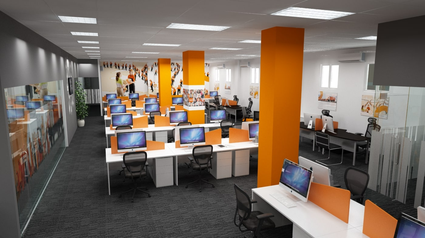 Văn phòng thiết kế màu cam