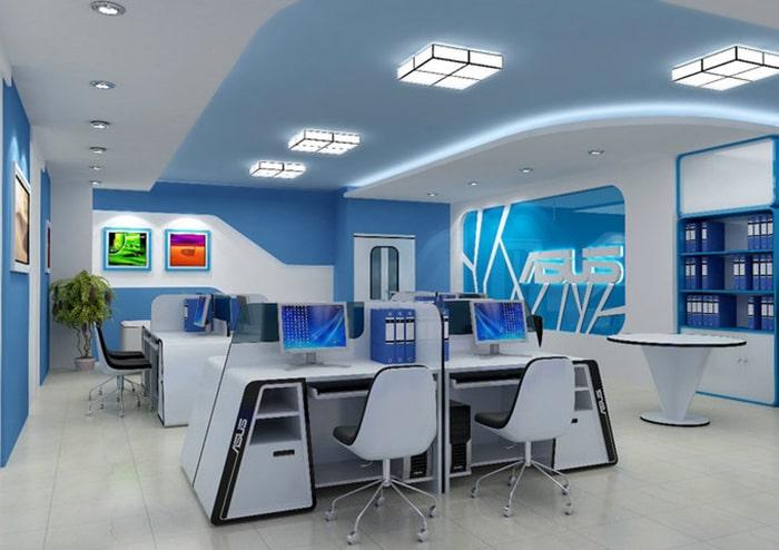 Văn phòng thiết kế màu xanh lam