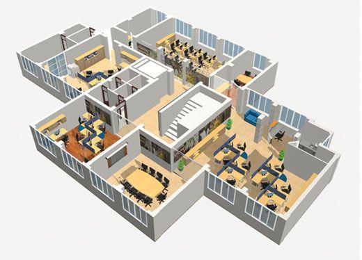 Một mẫu thiết kế các không gian phòng trên cùng một mặt sàn
