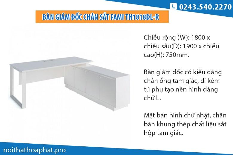 Bàn tủ cho giám đốc mệnh Kim TH1818DL-R