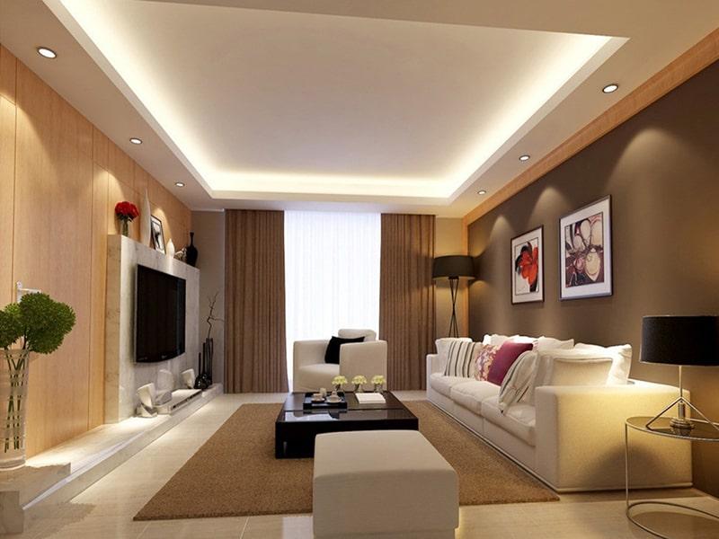 Phòng khách hiện đại với tông nâu của mệnh Thổ