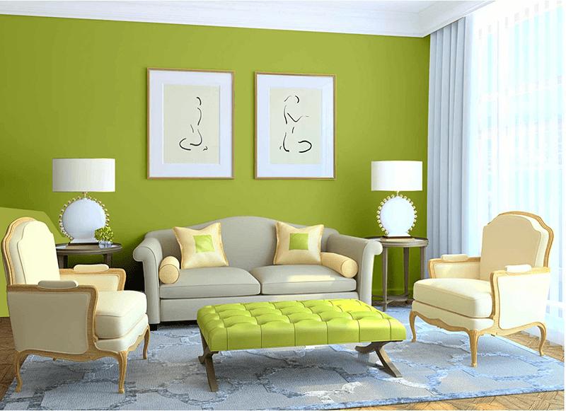 Xanh lá và nâu gỗ là hai tông màu phù hợp với phòng khách của gia chủ tuổi Mậu Thìn