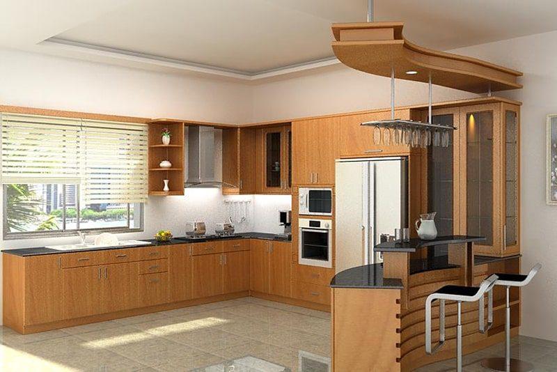 Phòng bếp nên sử dụng màu gỗ - mộc